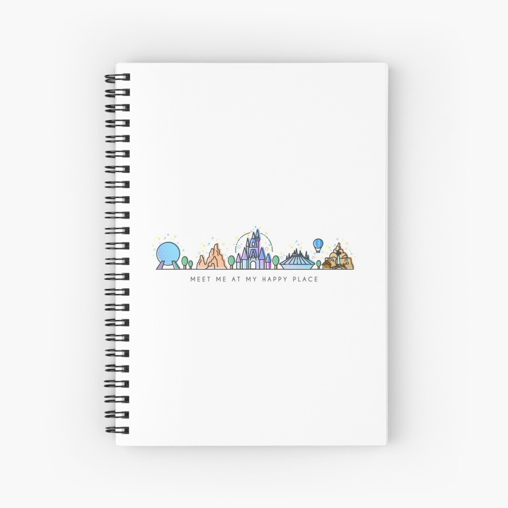 Meet me at my Happy Place Vector Orlando Theme Park Illustration Design Spiral Notebook