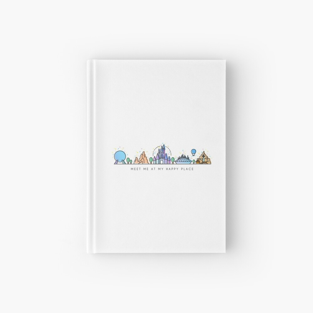 Meet me at my Happy Place Vector Orlando Theme Park Illustration Design Hardcover Journal