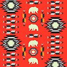 Tribal decor with bears in red by cocodes