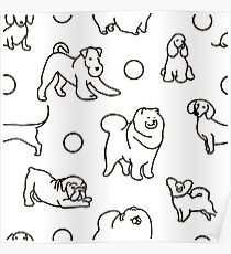 Seamless pattern with cute dogs. Poster
