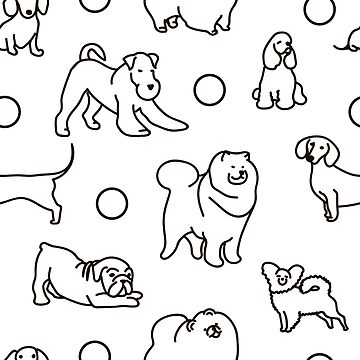Seamless pattern with cute dogs. by OlgaBerlet