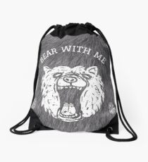Bear with me - fur in the background Drawstring Bag
