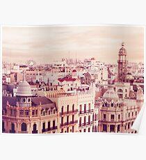 Póster Tejados del centro de la ciudad de Valencia España