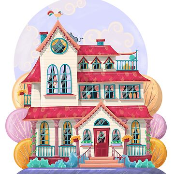 Colorful cartoon house illustration by creaschon