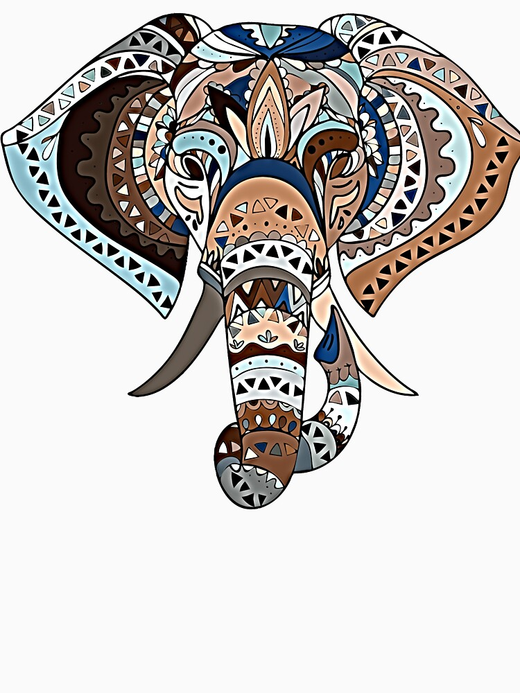 Beautiful Tribal Blue And Brown Patchwork Elephant For Animal Lovers by CarlosAlberto