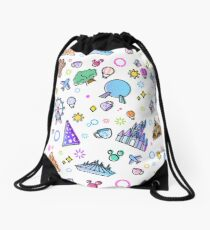 Meet me at my Happy Place Pattern. Happiest Place on Earth. Florida Orlando Icons. Ferris Wheel Theme Park. Drawstring Bag