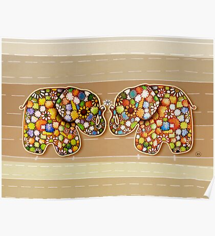 Patchwork Elephants Poster