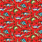 Dinosaurs! Red by DelythThomasArt