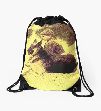 A Boy and His Dog Drawstring Bag