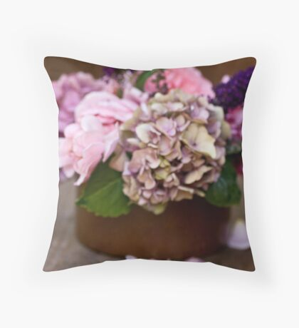 Bouquet and petals Throw Pillow