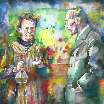 MARIE and PIERRE CURIE - watercolor portrait by lautir