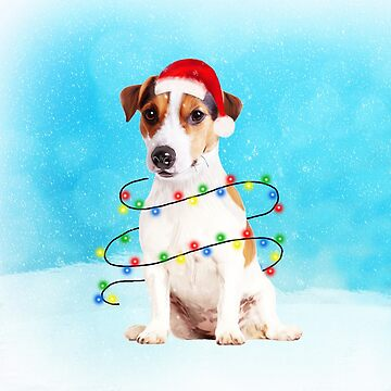 Jack Russell Dog in snow with Christmas lights Christmas Gifts by aashiarsh