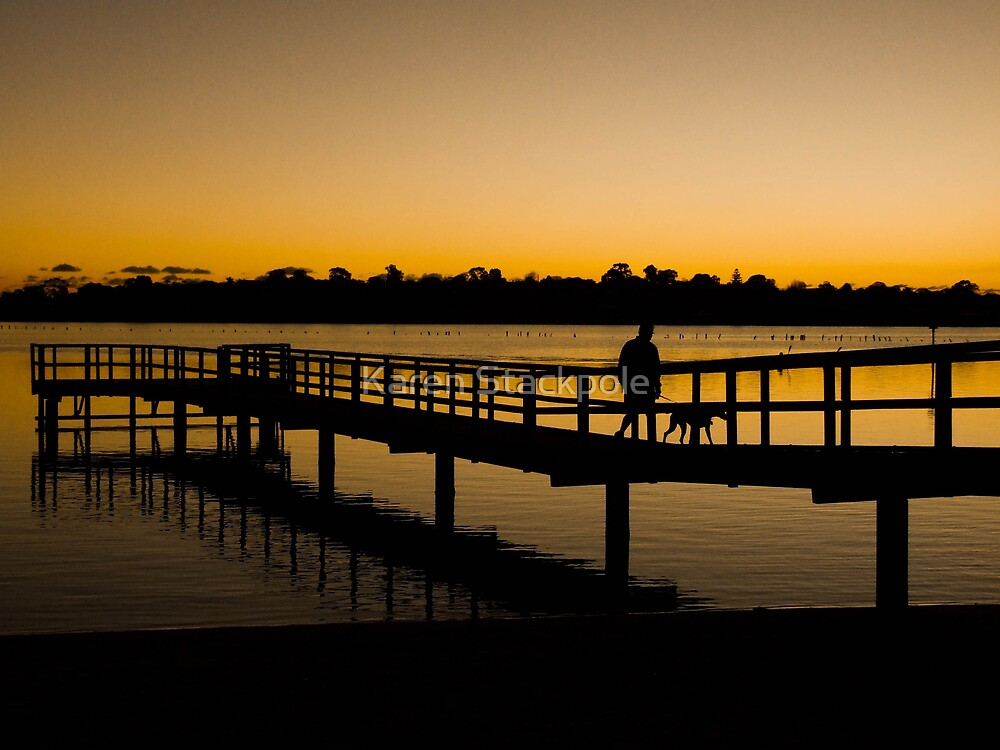 Walking the dog at the end of the day - Canning River, Shelley, Perth, Western Australia by Karen Stackpole