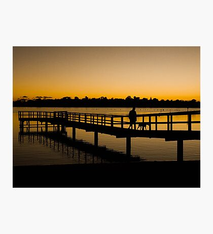 Walking the dog at the end of the day - Canning River, Shelley, Perth, Western Australia Photographic Print