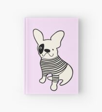 Fantastic French Bulldog in a striped tshirt Hardcover Journal