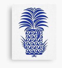 Indigo Tiki Pineapple Canvas Print
