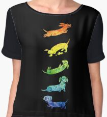 Watercolor Dachshunds Chiffon Top