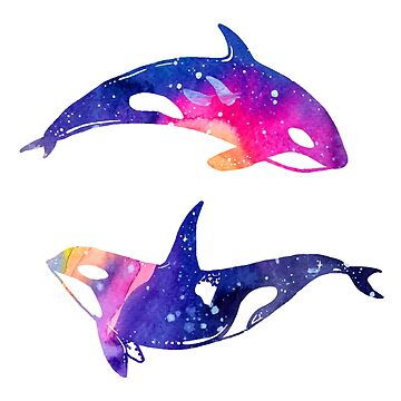 Watercolor Whales in Blue, Pink, and Purple by MeowntainCafe