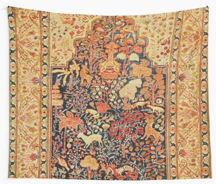 "Antique Turkish Silk Rug: ""Antique Turkish Silk Rug"" Wall Tapestries By Vicky Brago"