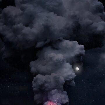 Moon Over Kilauea Volcano at Kalapana  by alex4444