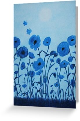 Blue Flowers And Butterflies Greeting Cards By Claudine Peronne