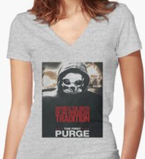 The First Purge An American Old Tradition Women's Fitted V-Neck T-Shirt