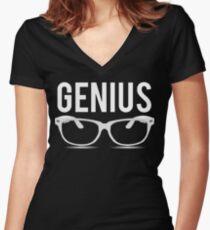 Genius Geek Glasses Nerd Smart Women's Fitted V-Neck T-Shirt