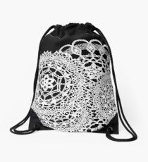 Delicate knitted lace of round doilies Drawstring Bag