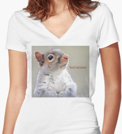 Oliver Twist Squirrel Women's Fitted V-Neck T-Shirt