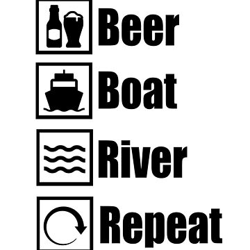 Beer Boat River Repeat Graphic Icons by lemonographie