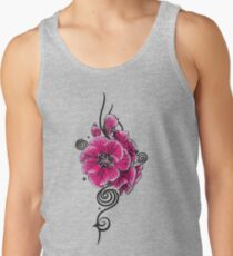 Pinke Geranie mit Tribal Ornament und Spiralen Tank Top