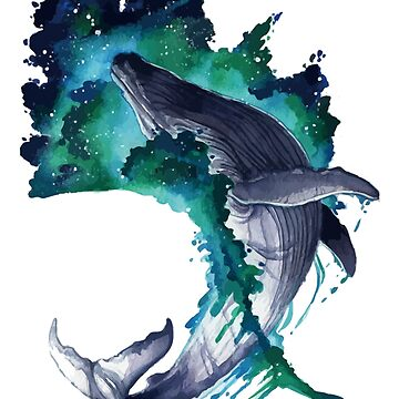 Leaping Whale Watercolor by MeowntainCafe