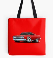 Red Hot Classic Muscle Car Coupe Cartoon Tote Bag