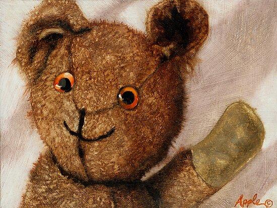Tillie - teddy bear portrait painting by LindaAppleArt
