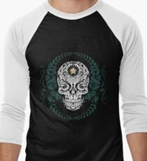 Sugar Skull Wreath Art Men's Baseball ¾ T-Shirt