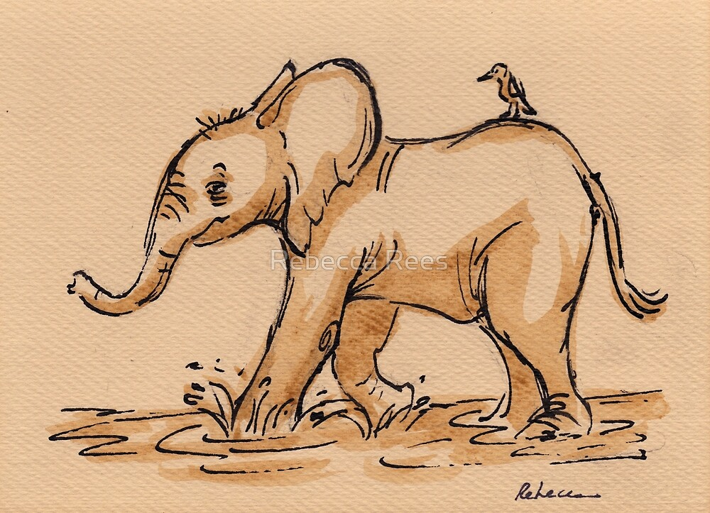 Friends:  Baby Elephant & Friend Watercolor Painting #16 by Rebecca Rees