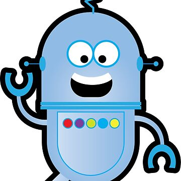 Happy Little Blue Bot by robotmonsters