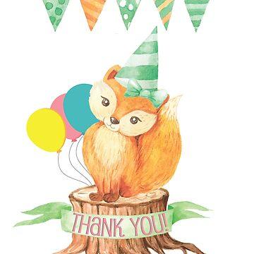 Woodland Fox Birthday Thank You Card by lcorri