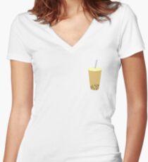 bubble tea Women's Fitted V-Neck T-Shirt