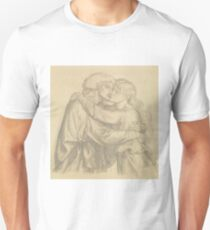 The Blessed Damozel - Study of Two Lovers Embracing by Dante Gabriel Rossetti Unisex T-Shirt