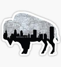 Pegatina Buffalo, Nueva York Mapa y Skyline, escala de grises