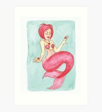 Ruby Mermaid - MerMonday July 9th 2018 Art Print