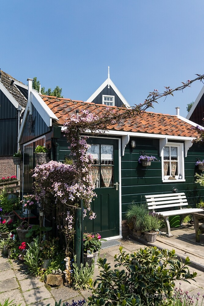 Dutch Country Charm - a Beautiful Little Cottage with Flowers by Georgia Mizuleva