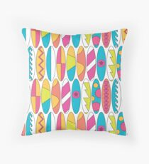Mini Rainbow Colored Waikiki Surfboards  Throw Pillow