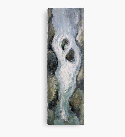 Narrow waterfall with two stones Metal Print
