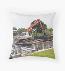 Dredging Our Canal Throw Pillow
