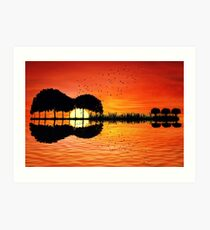 Gitarreninsel Sonnenuntergang Kunstdruck