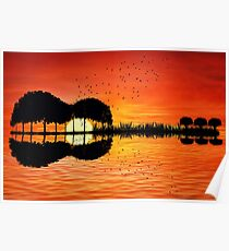 guitar island sunset Poster