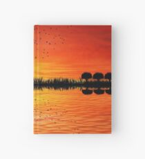 guitar island sunset Hardcover Journal