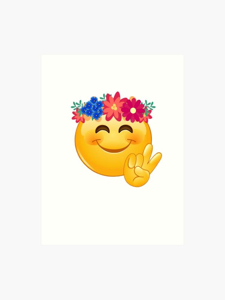 e9ba878ac3c Hippie Flower Power Emoji with Peace Sign